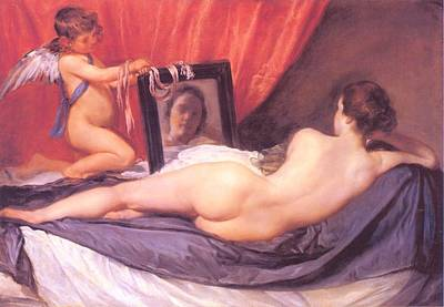 Food And Flowers Still Life - Venus at Her Mirror by Diego Rodriguez de Silva Velazquez