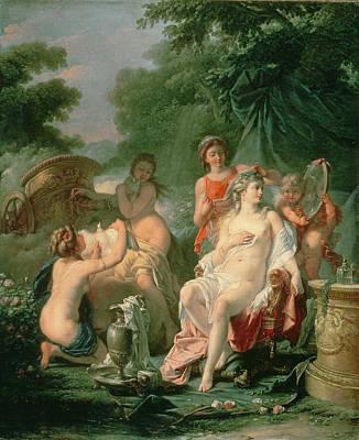 Venus At Her Toilet, 1760 Art Print by Hugues Taraval