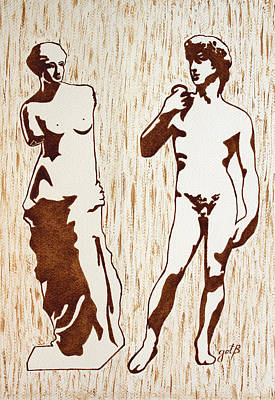 Venus De Milo And David Statues Original Dark Beer Painting Art Print by Georgeta Blanaru