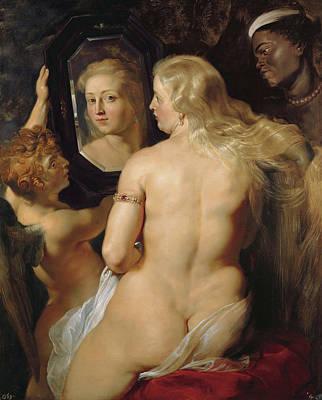 Peter Paul Rubens Digital Art - Venus In A Mirror by Peter Paul Rubens