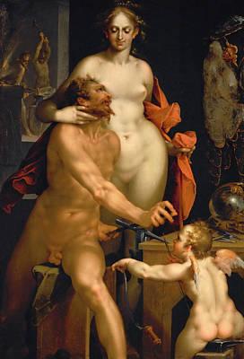 Vulcan Painting - Venus In Vulcans Forge  by Bartholomeus Spranger