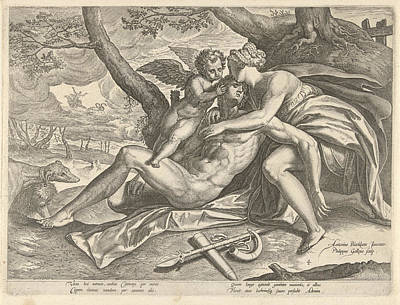 Venus Mourns The Death Of Adonis, Philips Galle Art Print by Philips Galle