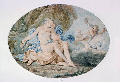 Venus Reclining On A Bank Strewn With Drapery Watercolour Art Print by Francesco Bartolozzi