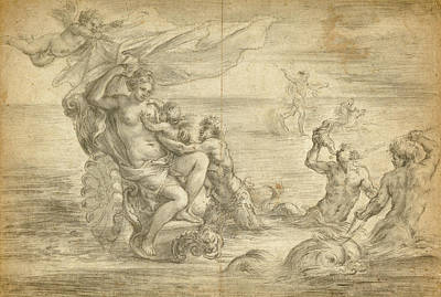 Venus Seated In Her Sea Chariot Suckling Cupid Alessandro Print by Litz Collection