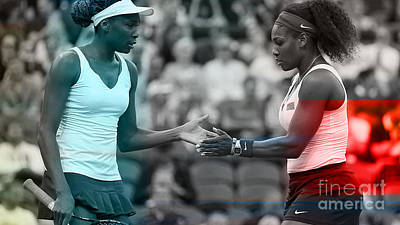 Venus Williams Mixed Media - Venus Williams And Serena Williams by Marvin Blaine