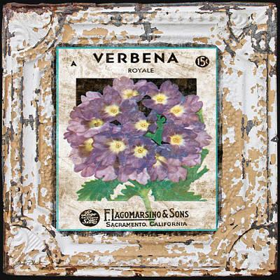 Verbena On Vintage Tin Art Print