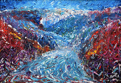 Snowboarder Painting - Verbier Pistes In The Trees Painting by Pete Caswell