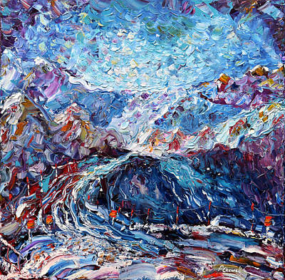 Verbier Ski Painting Original by Pete Caswell