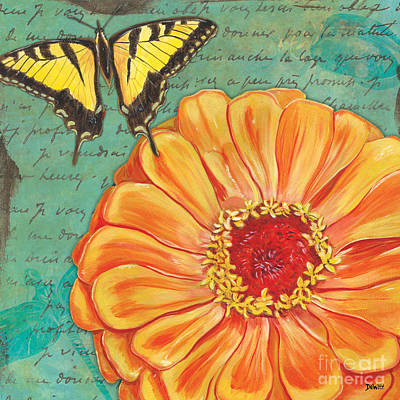 Wings Painting - Verdigris Floral 1 by Debbie DeWitt