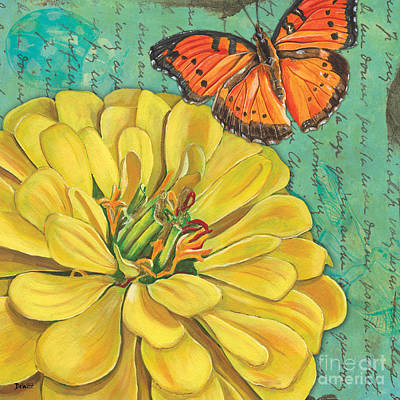Ladybug Wall Art - Painting - Verdigris Floral 2 by Debbie DeWitt