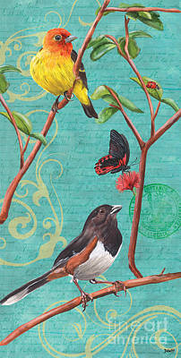 Pink Flower Branch Painting - Verdigris Songbirds 2 by Debbie DeWitt
