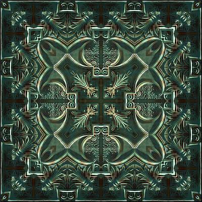 Digital Art - Verdigris Tile No 1 by Charmaine Zoe