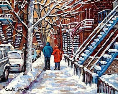 Of Verdun Montreal Winter Street Scenes Montreal Art Carole Painting - Verdun Avenues Winter Couple Near Winding Staircases Canadian Urban Landscape Paintings C Spandau by Carole Spandau