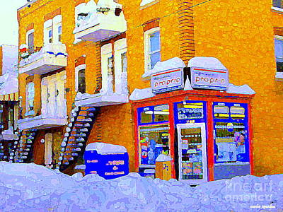 City Streets Painting - Verdun Depanneur A Real Verdun Snow Scene Montreal City Scene After The Snow Storm by Carole Spandau