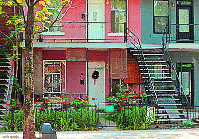 Montreal Memories Painting - Verdun Flower Boxes Pink House Fenced Front Garden Red Flowers Staircase Scenes Carole Spandau by Carole Spandau