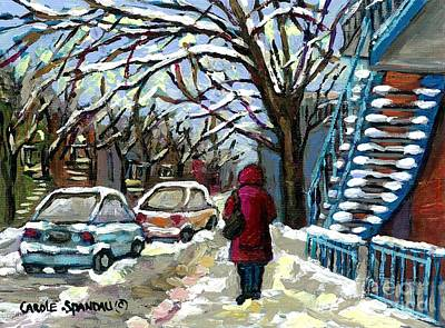Of Verdun Montreal Winter Street Scenes Montreal Art Carole Painting - Verdun Lady In Red Coat By The Snowy Blue Staircase Montreal Urban Winter Scene Painting C Spandau by Carole Spandau