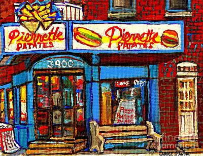 Verdun Connections Painting - Verdun Restaurants Pierrette Patates Pizza Poutine Pepsi Cola Corner Cafe Depanneur - Montreal Scene by Carole Spandau