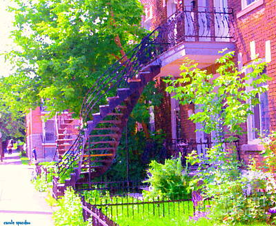 Montreal Memories Painting - Verdun Stairs Pretty Spring Scene Winding Staircase With Little City Garden Montreal Street Scene  by Carole Spandau