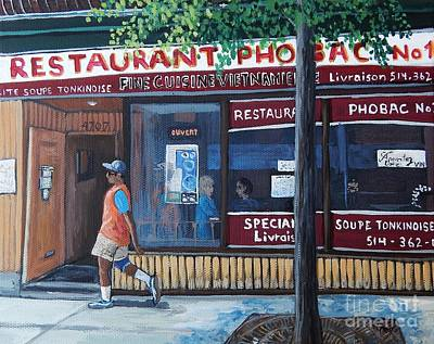 Montreal Restaurants Painting - Verdun Street Scene by Reb Frost