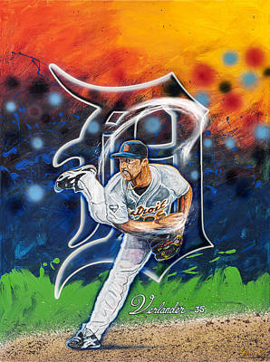 Verlander In Motion Original by Lance Graves