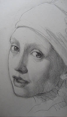 Drawing - Vermeer's Girl With Pearl Earring 2 by Sam Shacked