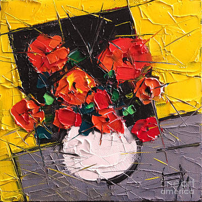 Color On Black Painting - Vermilion Flowers On Black Square by Mona Edulesco