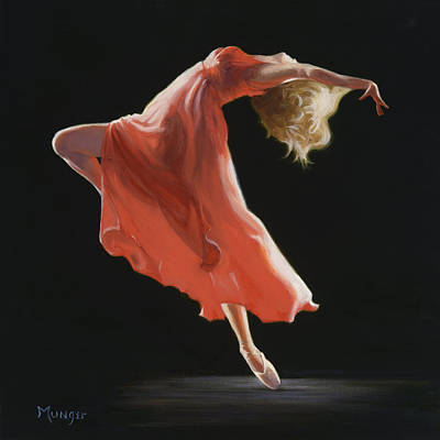 Dancer Painting - Vermilion by Roseann Munger