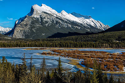 Vermillion Lakes And The Rundle Mountain Art Print by Levin Rodriguez