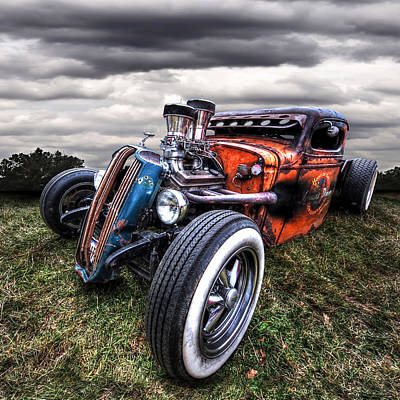 Old Hotrod Photograph - Vermin's Diner Rat Rod Front by Gill Billington