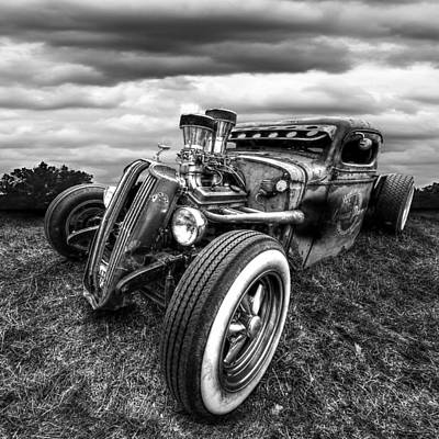 Photograph - Vermin's Diner Rat Rod Front In Black And White by Gill Billington