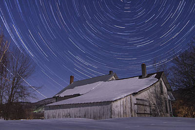 Farm Scenes Photograph - Vermont Abandonded Farmhouse Night Star Trails by Andy Gimino
