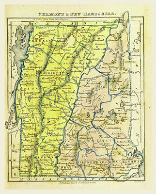 Vermont Drawing - Vermont And New Hampshire, The Boston School Atlas by Litz Collection