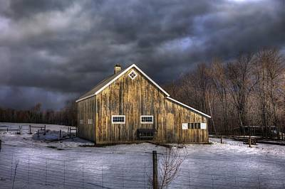 Barns In Snow Photograph - Vermont Barn In Snow - Stowe Vermont by Joann Vitali