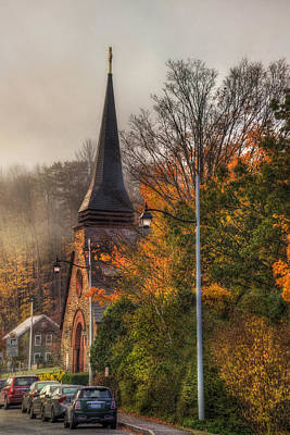 New England Fall Photograph - Vermont Church In Autumn by Joann Vitali