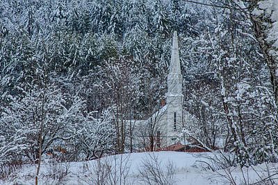 Photograph - Vermont Church In Snow by Jeff Folger