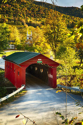 Vermont Covered Bridge Fall Scenic Art Print by George Oze