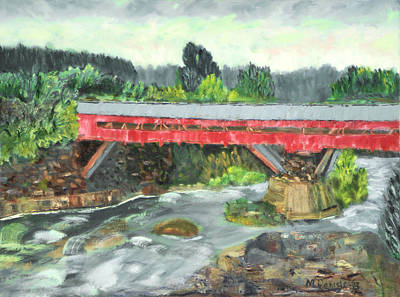 Art Print featuring the painting Vermont Covered Bridge by Michael Daniels
