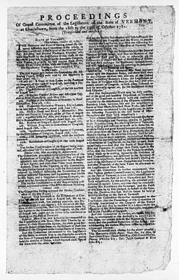 1781 Painting - Vermont Document, 1781 by Granger