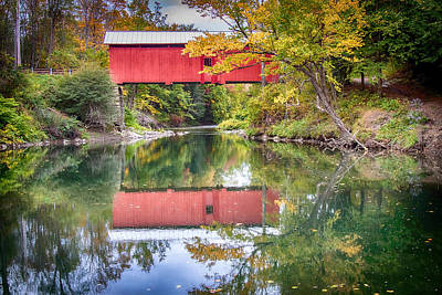 Photograph - Vermont Fall Colors And Covered Bridge Reflection by Jeff Folger