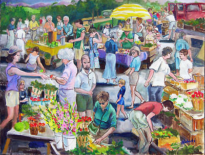 Middlebury Painting - Vermont Farmer's Market by Frederick Hubicki