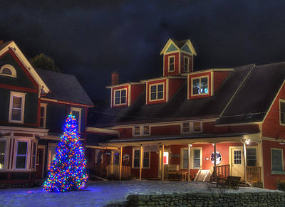 Not Your Everyday Rainbow - Vermont Farmhouse with Christmas Tree at night by Joann Vitali