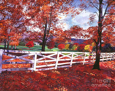 Pastoral Landscape Painting - Vermont Fence by David Lloyd Glover
