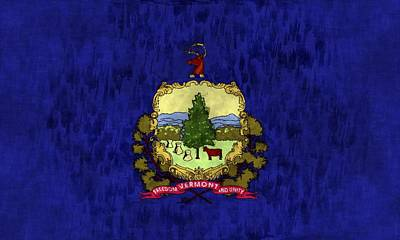 Vermont Map Digital Art - Vermont Flag by World Art Prints And Designs