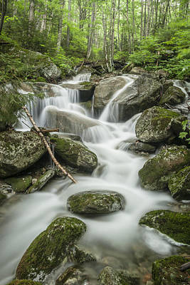 Vermont Wilderness Photograph - Vermont Forest Waterfall Green Trees Stone by Andy Gimino