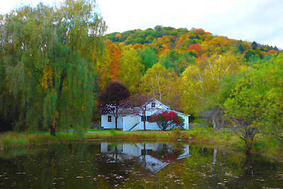 Digital Art - Vermont House In Full Autumn by Joan Reese