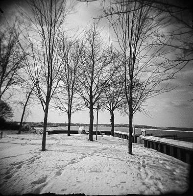 Holga Toy Camera Photograph - Vermont Lake Champlain Burlington Spring Snow Black And White by Andy Gimino