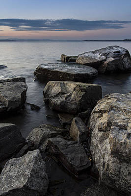 Champlain Photograph - Vermont Lake Champlain Sunset Cloudscape Rocks by Andy Gimino