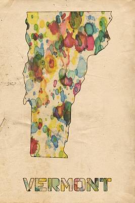 Watercolor Map Painting - Vermont Map Vintage Watercolor by Florian Rodarte