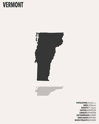 Vermont Map Digital Art - Vermont Minimalist State Map With Stats by Finlay McNevin