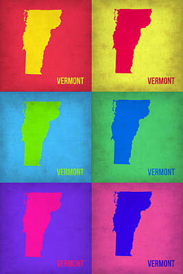 Vermont Map Painting - Vermont Pop Art Map 1 by Naxart Studio